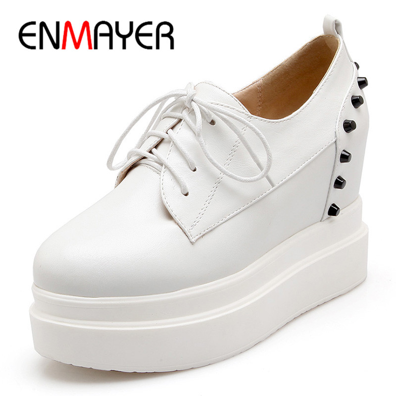 ENMAYER Woman Increasing Platform Wedges Pumps Spring/Autumn Shoes Ladies Fashion Solid Lace-Up Rivet Shallow Plus Size 34-43 enmayer solid shallow lace up shoes woman high heels round toe casual shoes adults in women plus size 34 43 spring