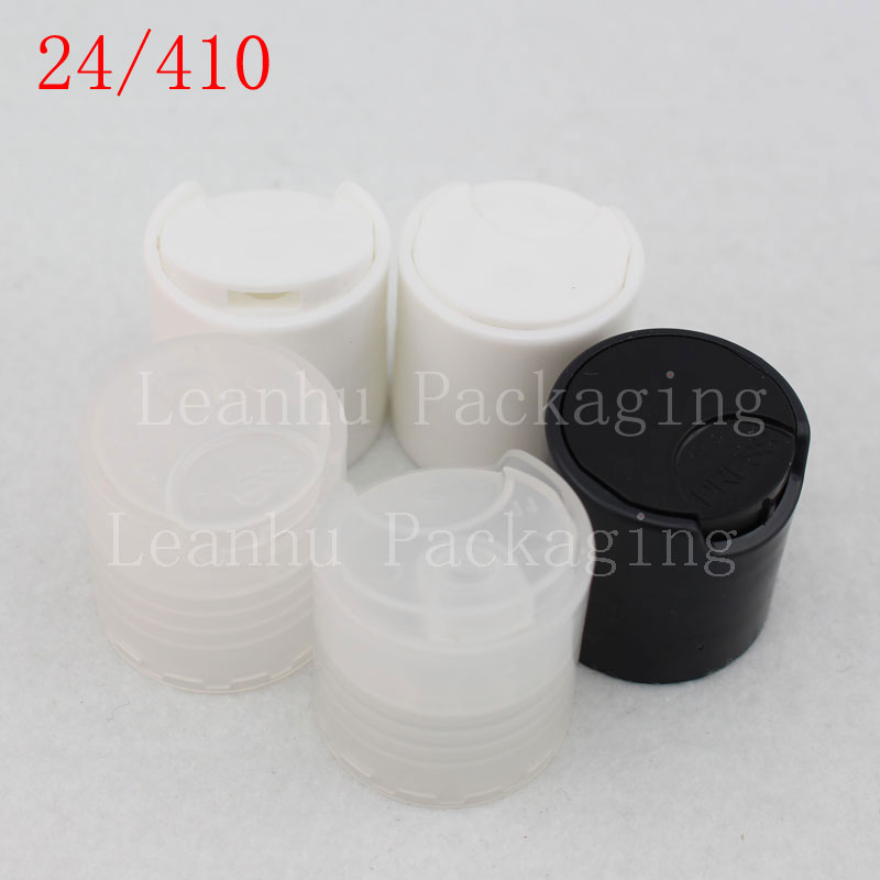 24 410 Disc top cap  for containers packaging , plastic Disk top lid for cosmetic bottles shampoo , lotion container lid