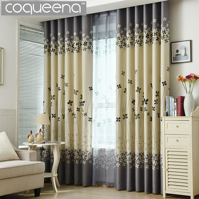 Grey And Cream Floral Print Modern Blackout Curtains For