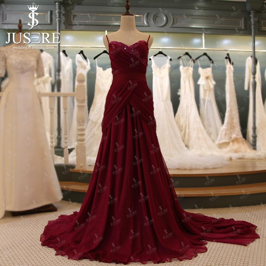 c3319c5e6bc00 A line Burgandy Chiffon Spaghetti Straps Sweetheart Lace Bead Crisscross  Pleat Ruching Belt Zipper Red Long Evening Dress 2016