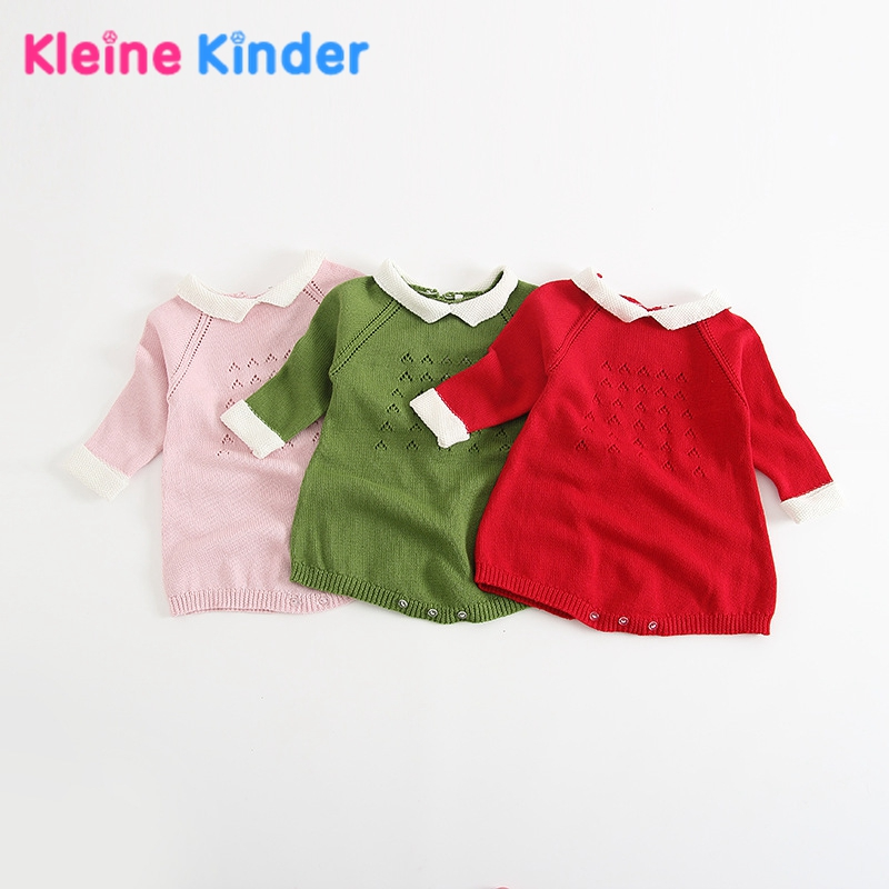 2018 Brand Newborn Baby Girl Wool Knitting Bodysuits Overall Infant Kid Clothes Long Sleeve Warm Crochet Onesie Jumpsuit Outfits
