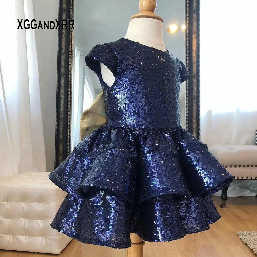 Lovely Navy Blue   Flower     Girls     Dress   Scoop Cap Sleeves Sequined Bow Back Ruffle Knee Length comunion Gown For Wedding Little   Girl