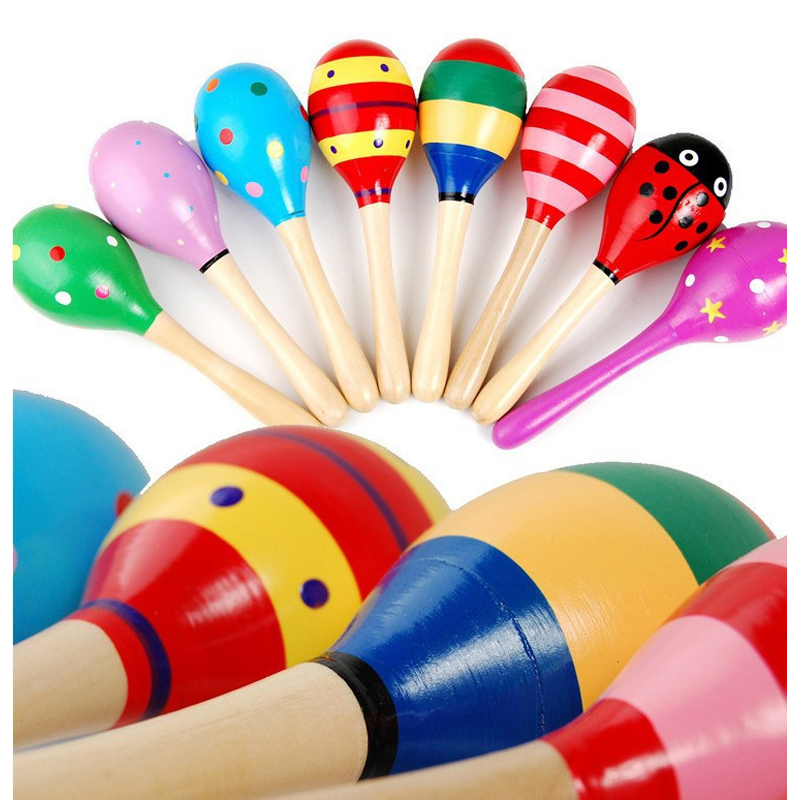 5pcs Baby Toys Musical Instruments Wood Rattles Toys For Babies Child Baby Shaker Toy For Children Toys Educational Child Gift