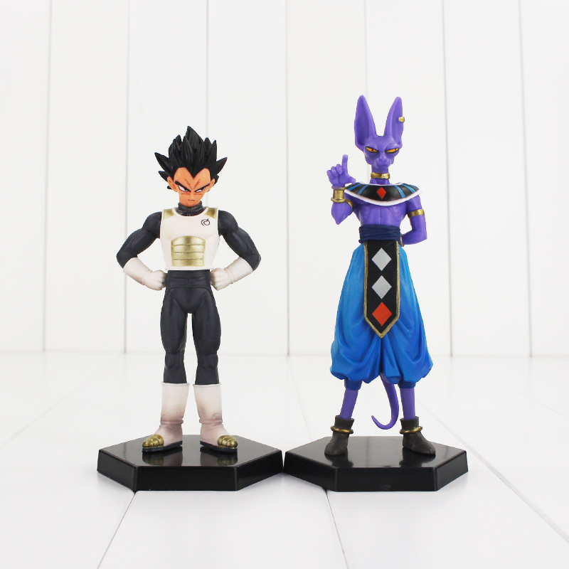 Hot 2pcs/lot Dragon Ball Z Vegeta Beerus DragonBall PVC Figures Collectible Model Toy with base gift christmas 2 pcs atlas scale 1 87 collectible train tram model set z 3701 1 and z 3701z 2 plastic