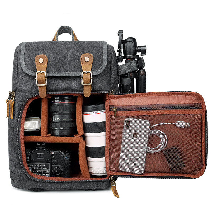 High Capacity Batik Canvas Fabric Photography Bag Outdoor Waterproof Camera Shoulders Backpack for Cannon Nikon Sony DSLR SLR in Camera Video Bags from Consumer Electronics