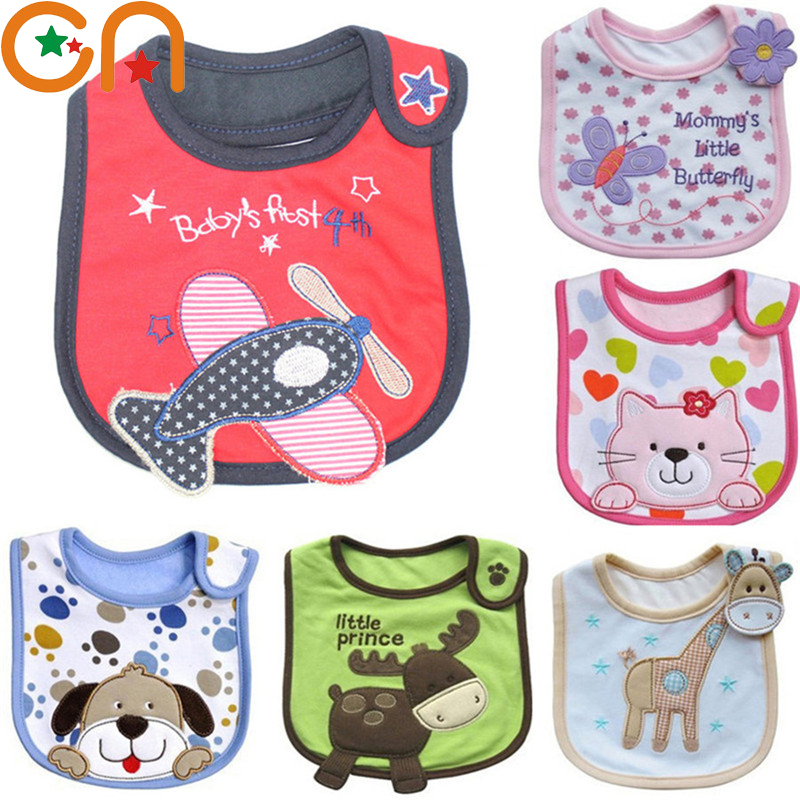 4 piece/Lot Baby cotton bibs Kids Girl Boy Children Cartoon waterproof Dinner Feeding bib Infant Newborn Burp Cloths apron CN