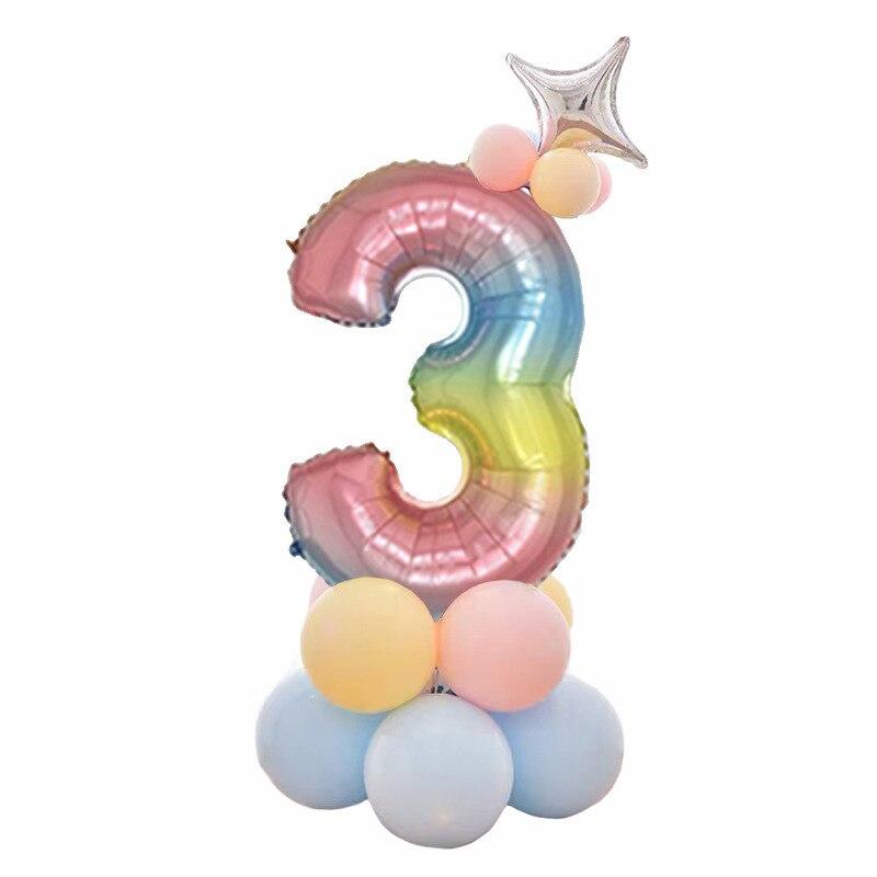 32 дюймов фольга градиент воздушные шары в форме цифр Набор цифр шар с днем рождения воздушные шары вечерние украшения дети мультфильм шляпа игрушка - Цвет: 3