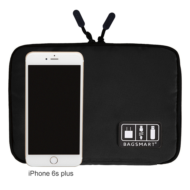 BAGSMART Electronic Accessories Organizer For Earphone Data Line SD Card USB Cable Digital Device Bag Travel Nylon Bag
