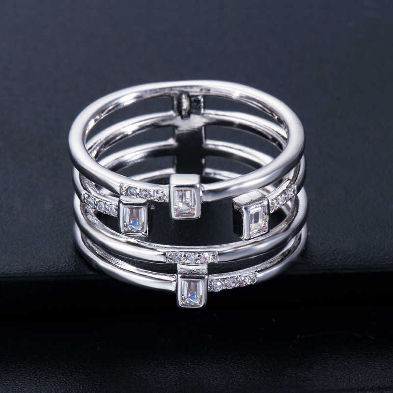 CWWZircons หลายชั้น Geometric Cubic Zirconia Rose Gold สีแฟชั่น Designer ยี่ห้อผู้หญิงแหวนนิ้วมือเครื่องประดับ R117