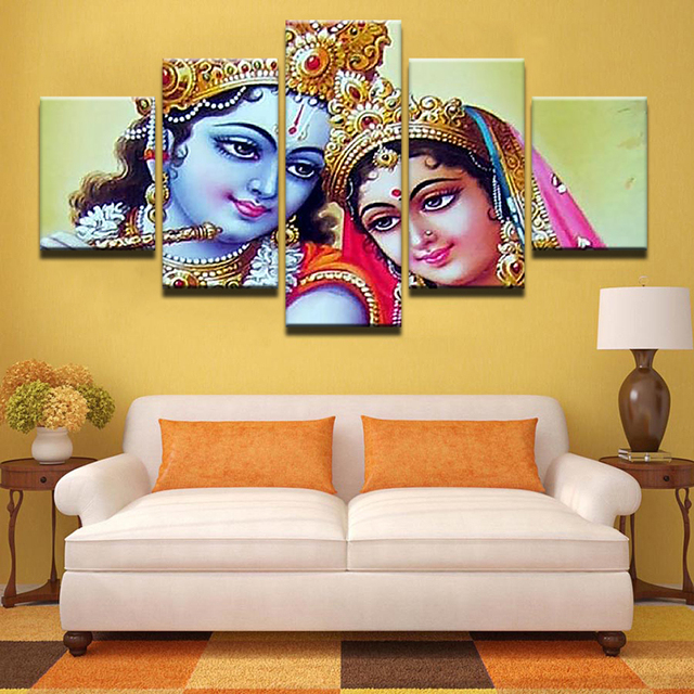 Painting canvas modular decoration 5 panel radha krishna - Wall pictures for living room india ...