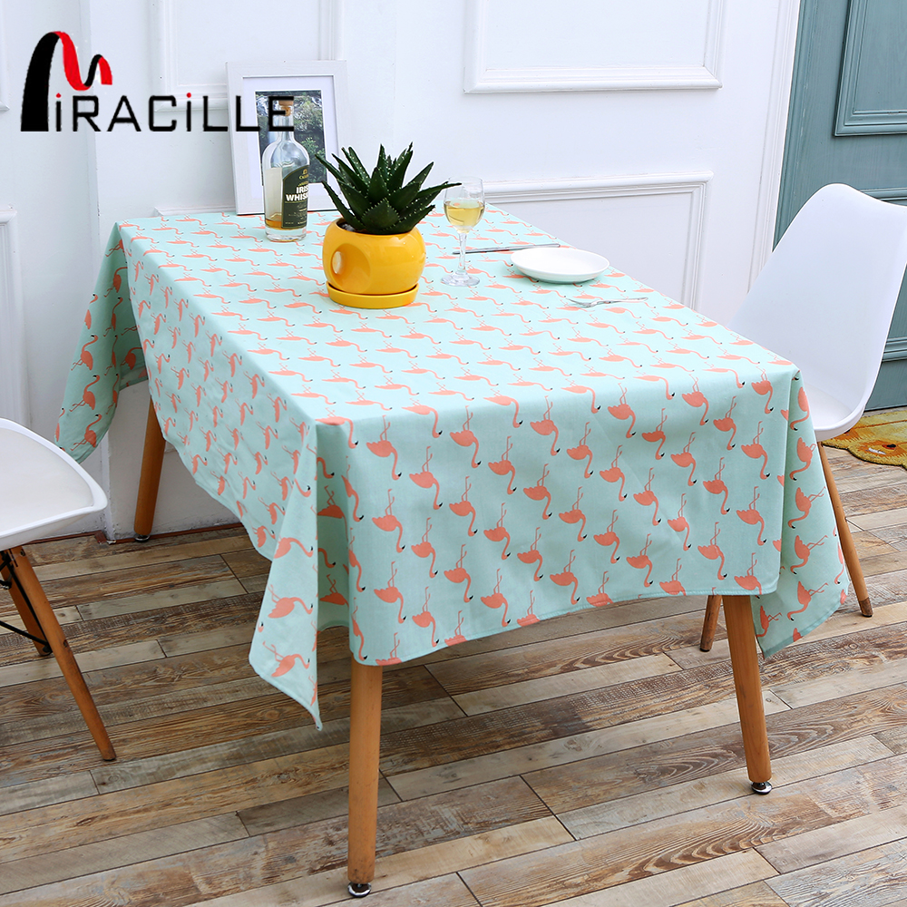 Miracille Beauty Blue Cartoon Flamingo Print Cotton Linen Tablecloth ...