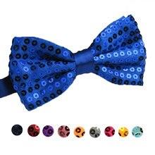 Модный мужской галстук-бабочка для взрослых, розовый, синий, предварительно завязанный Галстук-бабочка, свадебная официальная Мужская рубашка, регулируемый Одноцветный галстук-бабочка с блестками