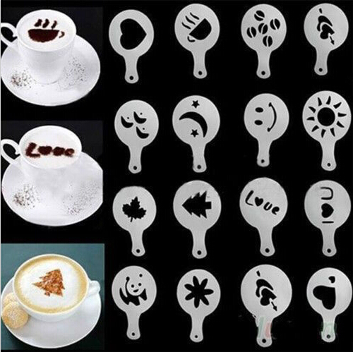 16Pcs/Set Coffee Drawing Molds Printing Model Sprinkle Powder Mats Utensils Tools Coffee Accessories16Pcs/Set Coffee Drawing Molds Printing Model Sprinkle Powder Mats Utensils Tools Coffee Accessories