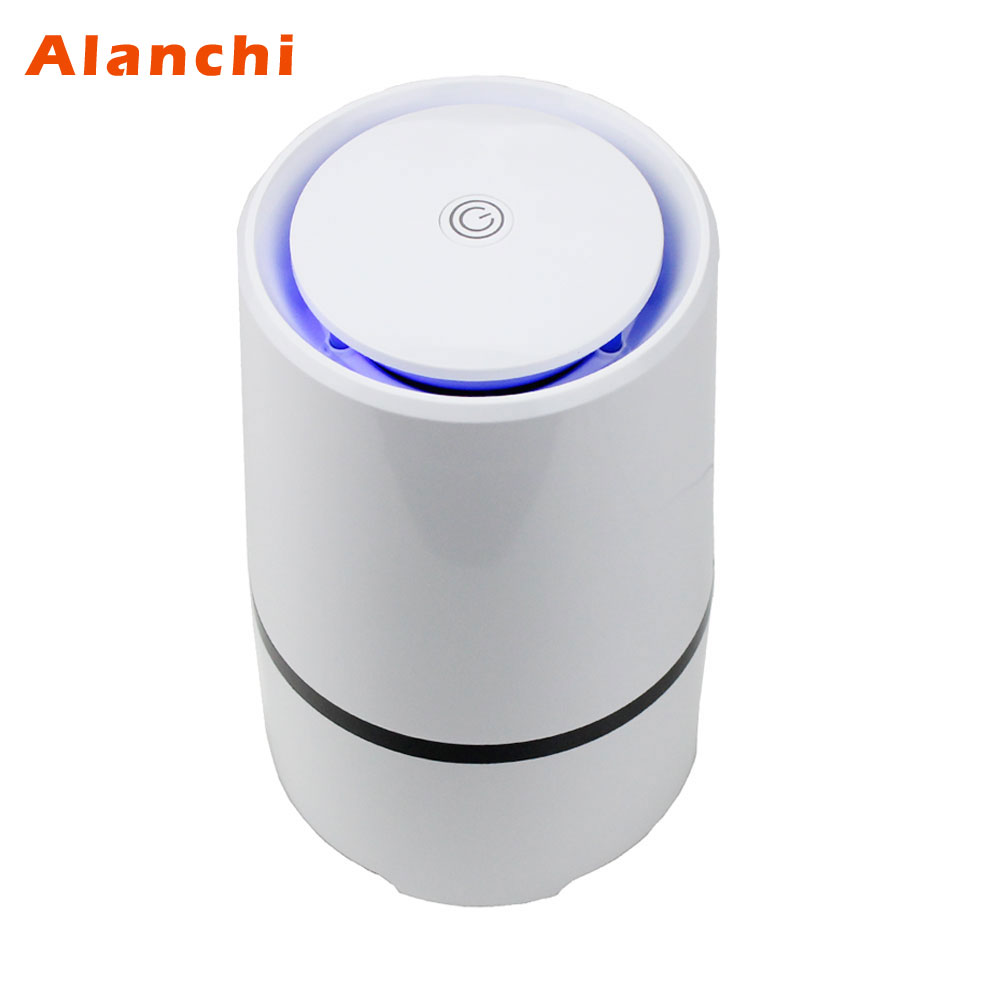 Alanchi Desk Air Purifier Built-in Anion Generator HAPE Filter Support Air Fan/Led Aperture Light,Cylindrical USB Air Cleaner