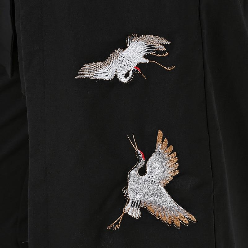 Broderie Chinois Longue Tang Lin Grue Vestes Dynastie Veste Unique Style Blanc Hommes Poitrine Et Noir Manteau Coton stQdhr