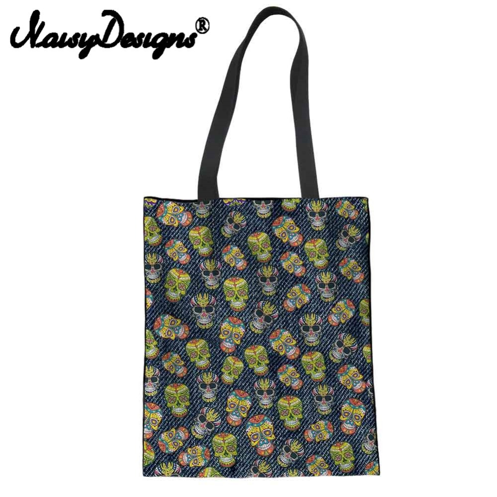 NOISYDESIGNS denim skull printed Reusable Canvas Shopping Bags for Women Folding Eco-friendly Portable storage Harajuku