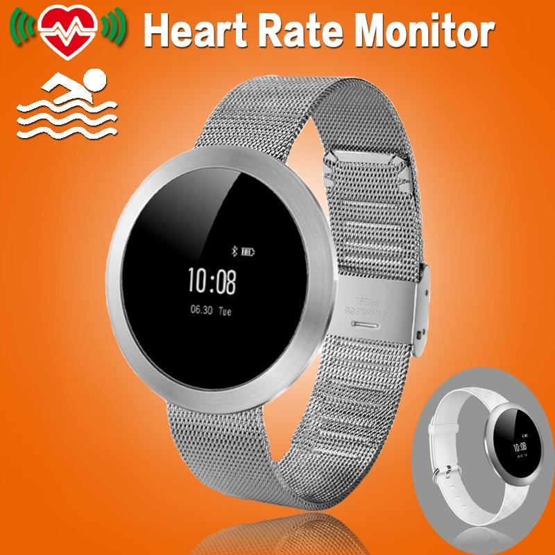 imágenes para Mujeres de metal a prueba de conectividad bluetooth smart watch reloj smartwatch con podómetro monitor del ritmo cardíaco para android ios