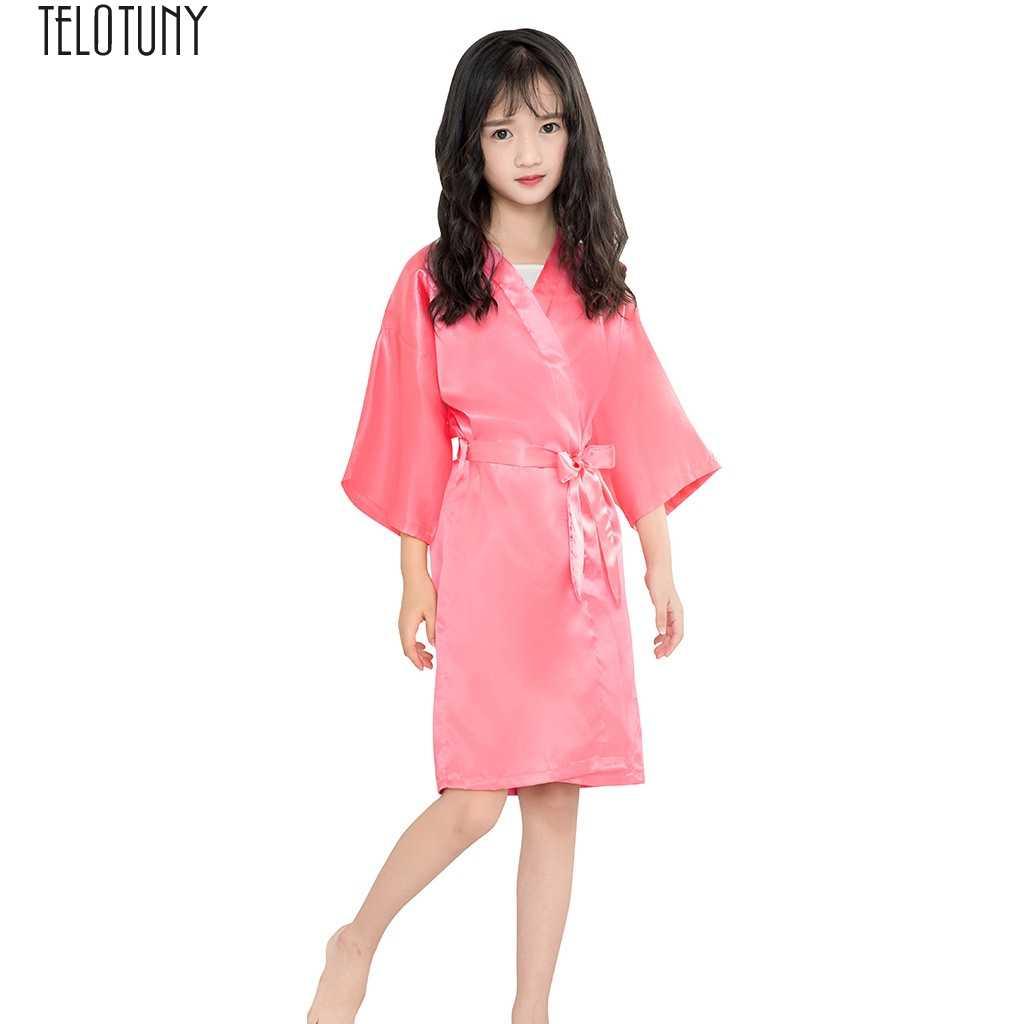 Telotuny Bayi Bathrobetoddler Anak Perempuan Sutra Kimono Satin Jubah Jubah Mandi Baju Tidur Pakaian Anak Mandi Fashion Baru J28