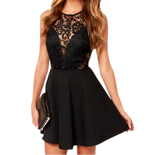 Women's Summer dress Casual Backless Prom Cocktail Lace Short Mini Dress Sexy Sleeveless Party Ball Gown Dresses 2018