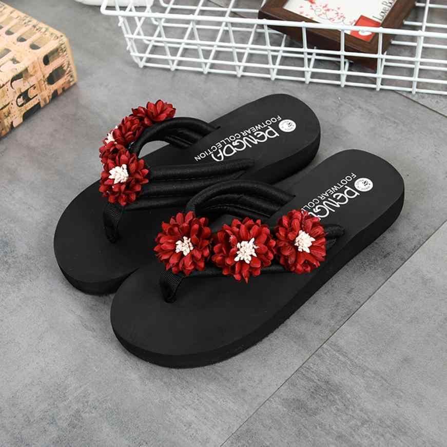 7d08e0d33277f ... summer Ladies Flats Slippers Shoes Women Flower Anti-Skidding Flip  Flops Flat Heel Sandals Slipper