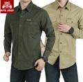 Marca camisas de los hombres AFS JEEP 2016 nuevo Otoño casual camisa Militar de manga Larga 100% del Algodón del Ocio