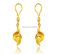 Solid 24K Yellow Gold Earrings / Happy All Life Dangle Earring/ 4.59g