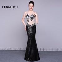 Real Sample Sexy Scoop Neck Sleeveless Sequin Long Evening Dresses 2018 Mermaid Transparent Floor Length Evening Dress A021