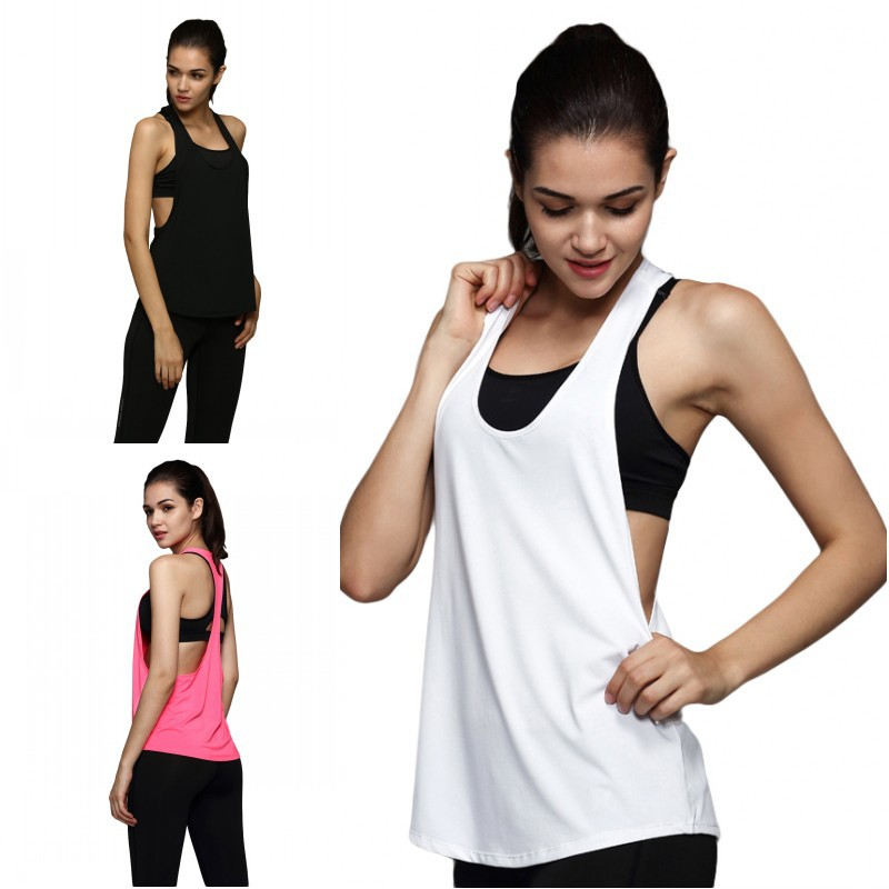 2018 New Style Summer Women Tank Tops Dry Quick Yoga Shirts Loose Gym Fitness Sport Sleeveless Vest Singlet Running Training