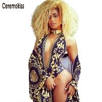 Ceremokiss Print Floral Deep V Neck Sexy Halter Swimsuit Sleeveless Off Shoulder Bodysuit Overall Beach Wear