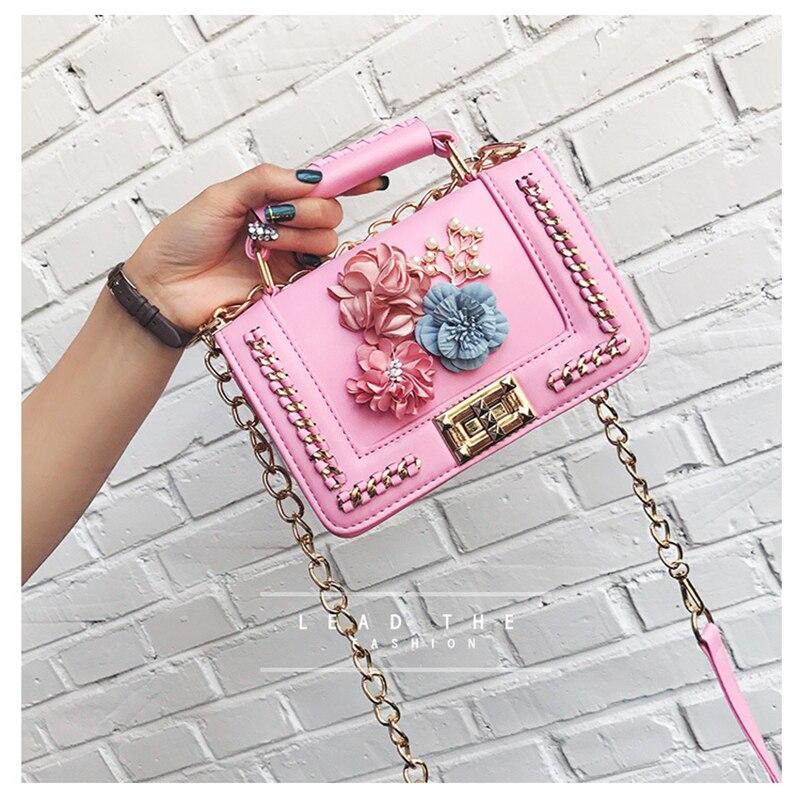 Blom Kvinnor Väska Mode Små Sequined Kedjor Axelväska Flickor Rosa - Handväskor - Foto 4