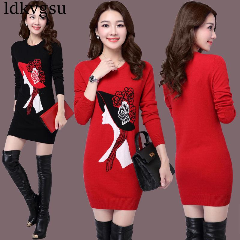 2018 nouvelle grande taille 4XL automne hiver longue Section pull femmes pull Slim tricoté pull coréen impression robe V111
