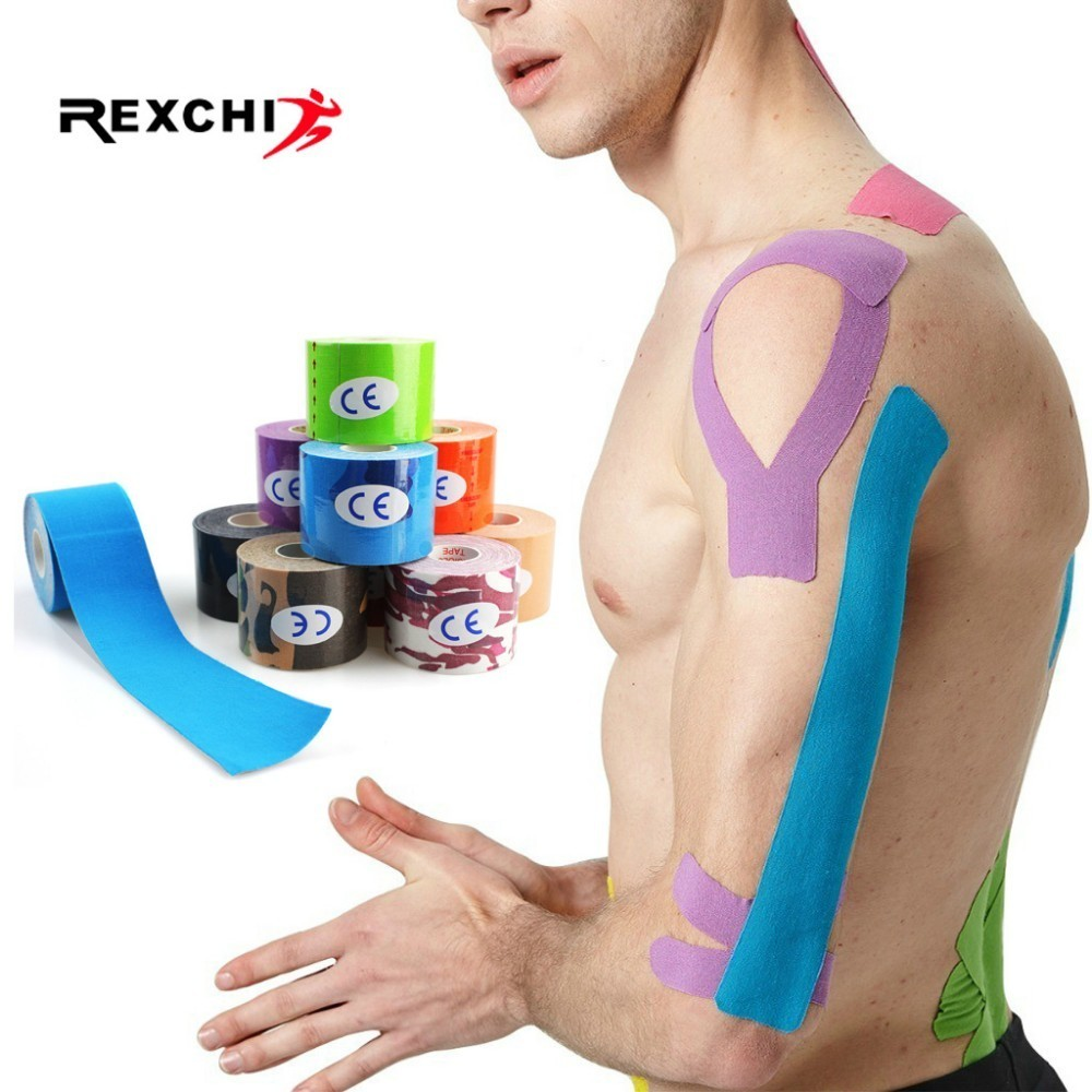 REXCHI 2 Size Elastic Kinesiology Tape Athletic Recovery Sports Safety Muscle Pain Relief Knee Pads Support Gym Fitness Bandage(China)