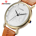 LONGBO Top Quality Men luxury Brand Watches Imitation Water Quartz Watch Leather Strap Ultra-thin Wristwatches 80035