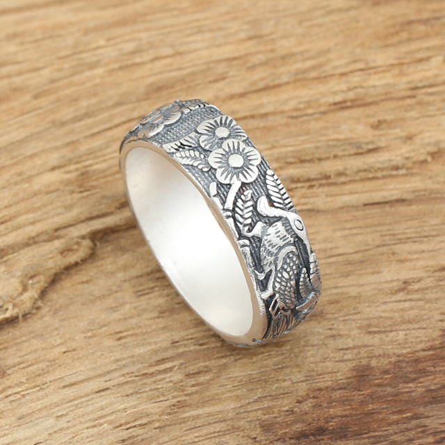 Factory wholesale silver jewelry handmade fine silver silver S990 personality of male and female magpie ring ring
