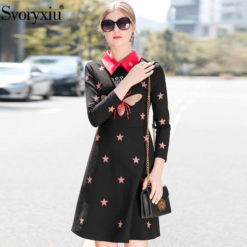 Svoryxiu 2018 Fashion Designer Autumn Dress Women s Long Sleeve Bee Star  Pattern Embroidery Party Dress Vestidos-in Dresses from Women s Clothing on  ... 91aa8f1218fa