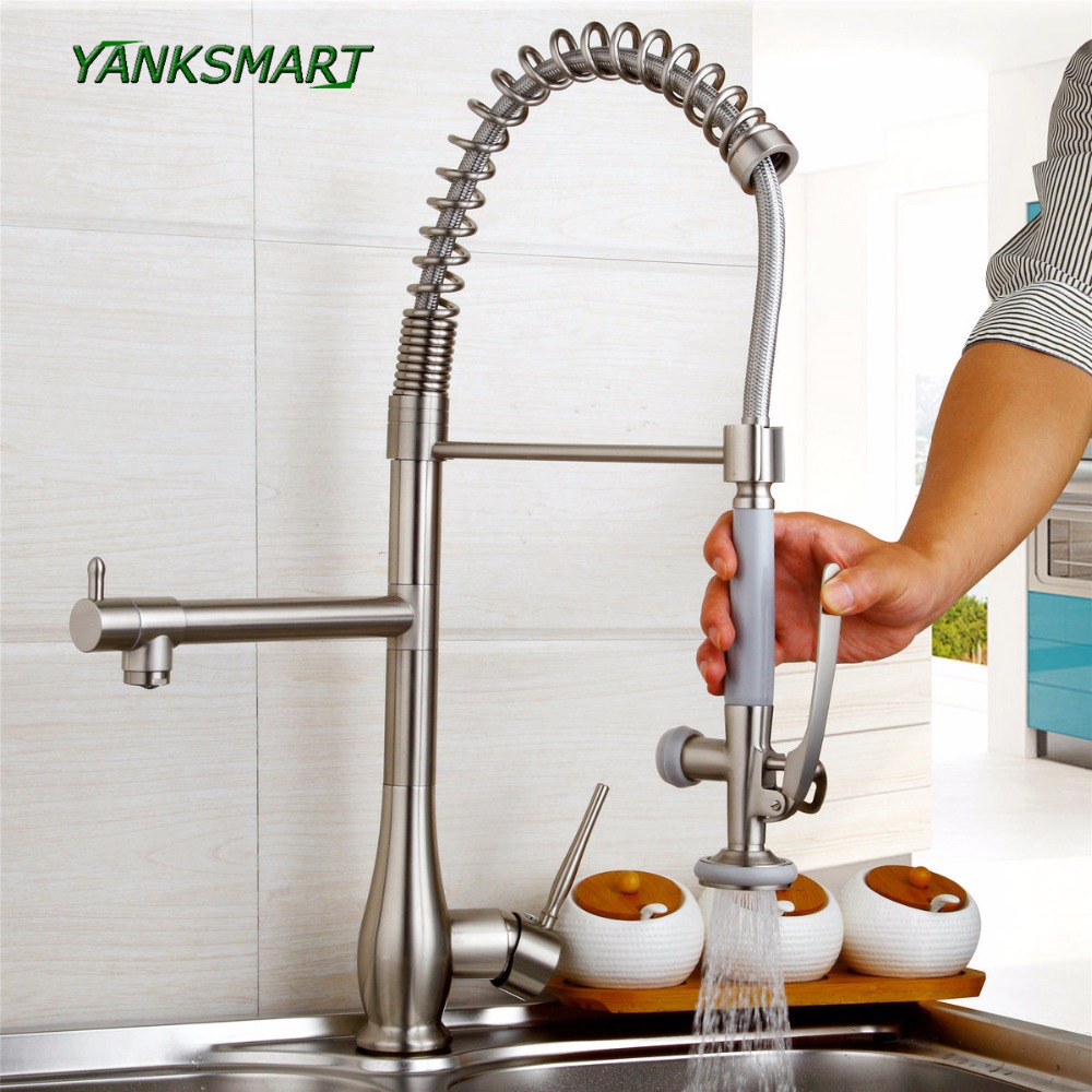 YANKSMART kitchen Pull Up Down Brushed Nickel solid brass basin sink swivel faucet single Lever Rotated
