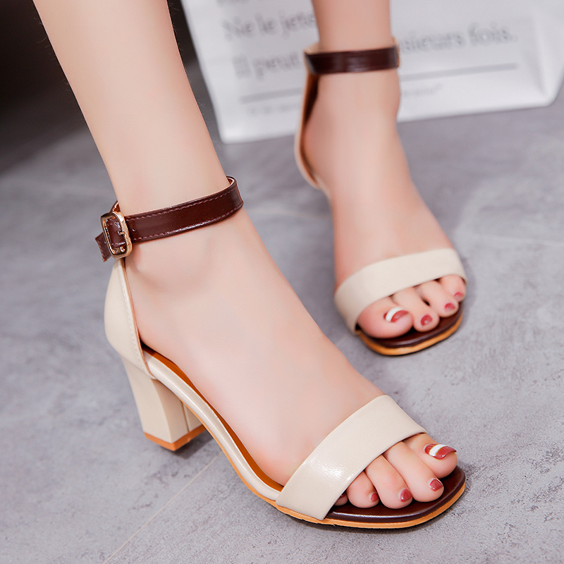 78bcf3454d9ddf 2019 Summer New Women Sandals High Heels Fashion Europe Leather Sexy  Elegant Women Shoes Shallow Work