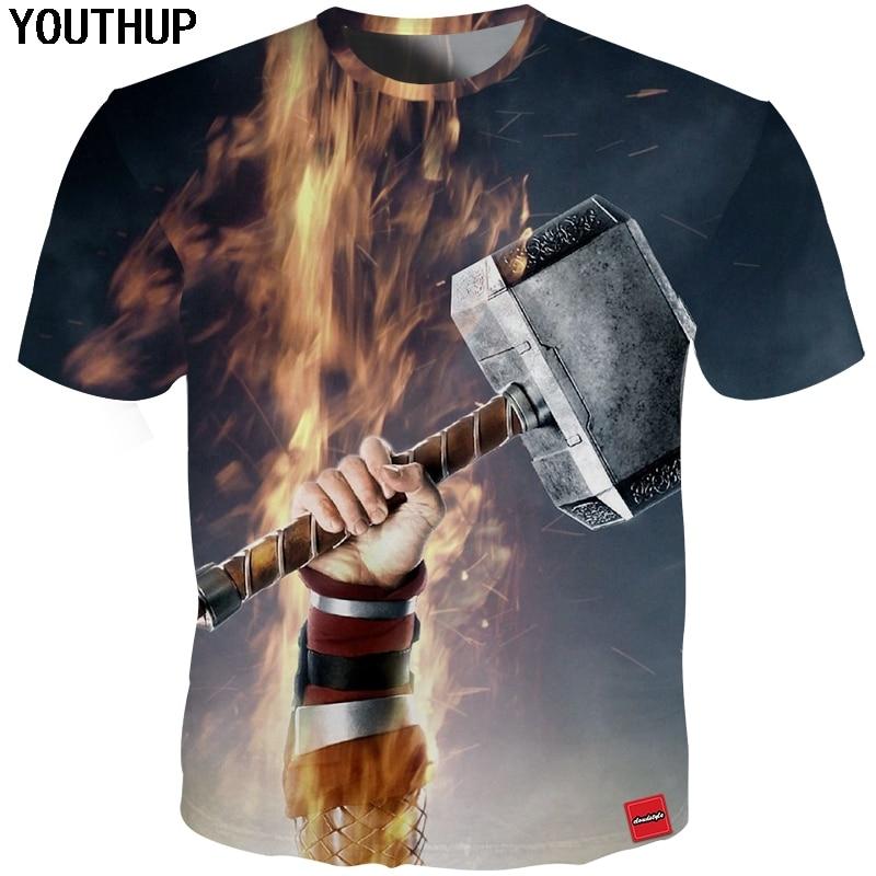 YOUTHUP 2018 뉴 여름 T 셔츠 남성 Thor 's Hammer Mjollnir - 남성 의류