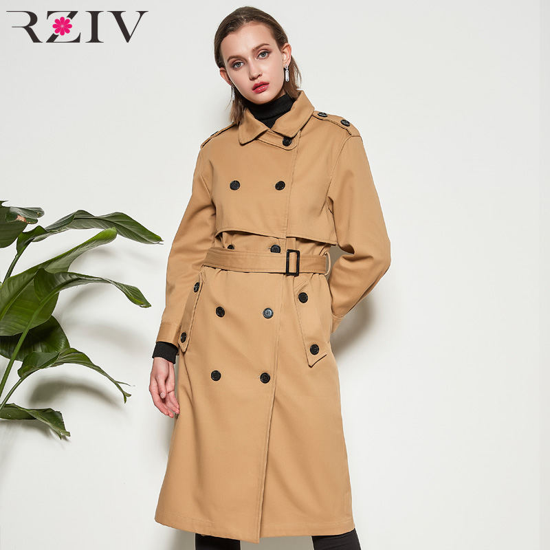 RZIV spring trench women's trench coat and windbreaker coat casual solid color button decoration long ladies coats