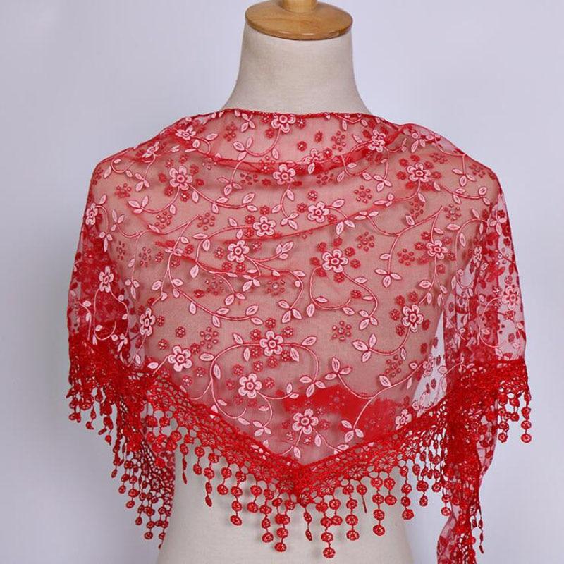 Women Lace Tassel Triangle Scarf Sheer Metallic Bandage Floral Scarves Shawl Female Bufanda Mujer