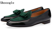 SHOOEGLE Hot Sale Leather and Suede Stitching With Bowtie Men Handmade Shoes Luxurious Flats Men's Banquet Classic Loafers Shoes недорого