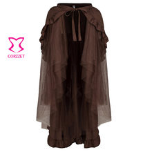 Vinatge Victorian Brown Long Tulle&Ruffled Satin Lace Up Pleated Punk Skirt Sexy Steampunk Corset Gothic Wrap Skirts Women
