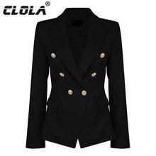 Clola Для женщин Пиджаки для женщин и Куртки осень 2017 г. кнопки твердого моды блейзер Femenino дамы пиджак женский черный, белый, розовый цвет