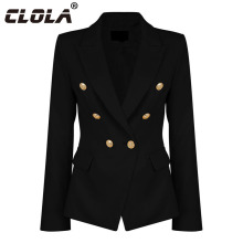 CLOLA Women Blazers and Jackets 2017 Autumn Button Solid Fashion Slim Blazer Femenino Ladies Blazer Female Black White Pink