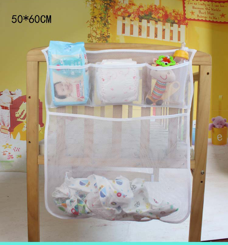 THEE Baby Bed Hanging Bag Storage Nursery Diaper Organizers Gray