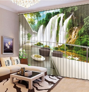 3D Curtain Printing Blockout Polyester Photo Drapes Fabric For Room Bedroom Window forest curtains