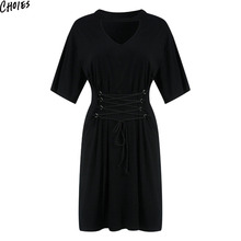 Black Choker V Neck Lace-up Lattice Front Casual Dress Women Summer Short  Sleeve Straight 2203457829d2