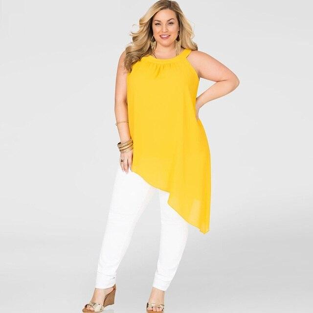2016 большой размер женщин топы летняя мода сексуальная шея висит личность наклонной подол длинные самосовершенствование жилет ZT1451