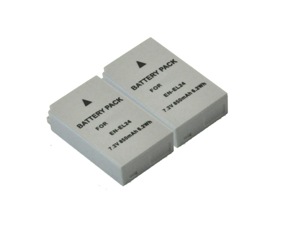 Free Shipping new 2 piece Camera Battery EN EL24 for one 1 J5 ENEL24 replace high