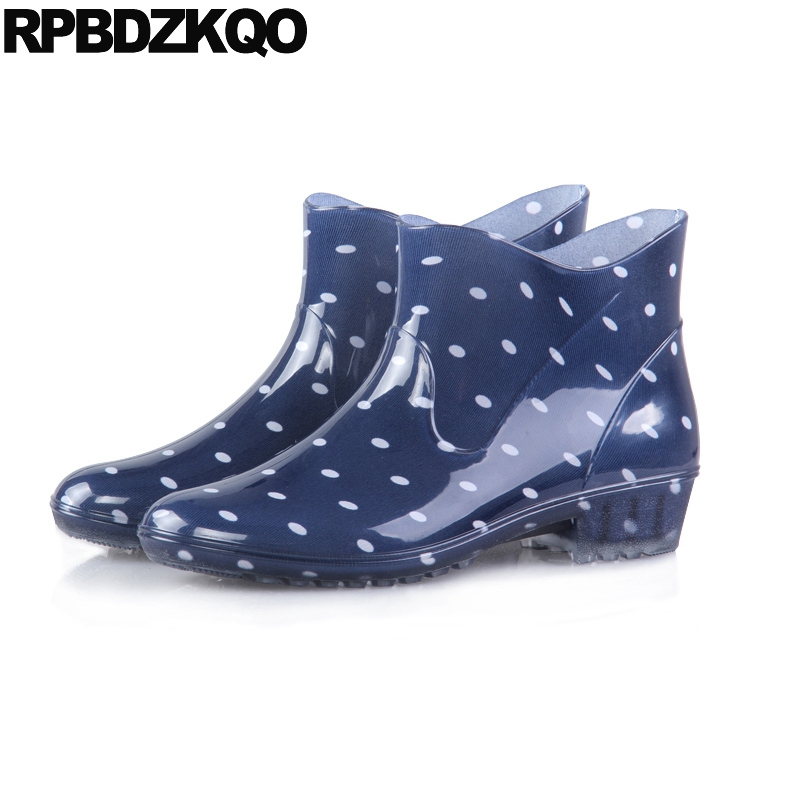 Polka Dot Slip On Waterproof Rainboots Flat Size 41 Women Ankle Boots 2016 Round Toe Wide Calf Pvc Cheap Booties Shoes Blue polka dot white waterproof rain boots women ruber anti slip new arrival mid calf quality water shoes female rainboots flat botas
